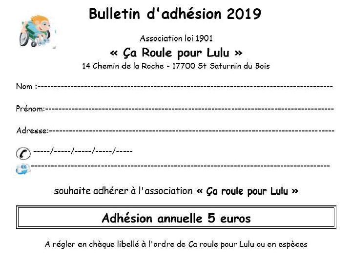 Bulletin d adhesion 2019